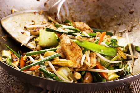 chilli sauce: stir fried chicken with vegetables Stock Photo