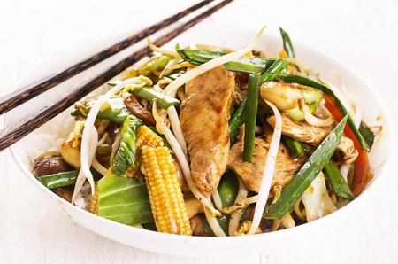 hoisin: stir fried chicken with vegetables Stock Photo