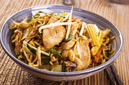 yi mein: stir fried chicken and noodles