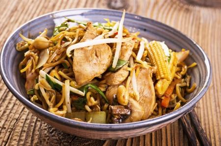 chap sticks: stir fried chicken and noodles