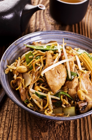 yi mein: stir fried noodles  Stock Photo