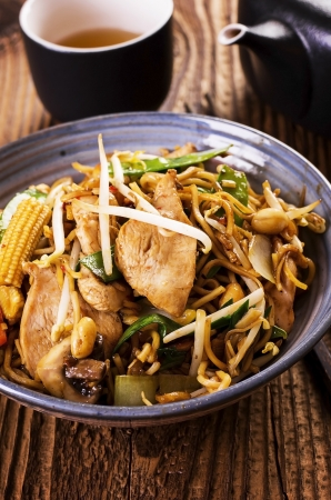 mee pok: stir fried chicken with noodles