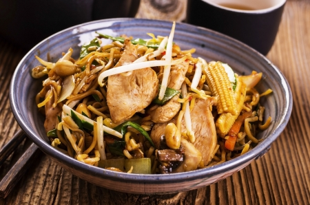 mie noodles: fried noodles with chicken Stock Photo