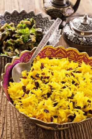 basmati: percian saffron rice with barberries Stock Photo