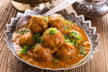 ground beef: meatballs cooked in the bowl Stock Photo