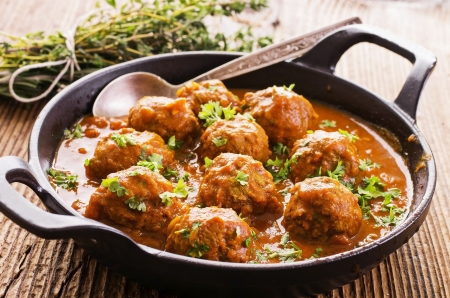self made: meatballs cooked with herbs Stock Photo