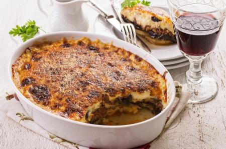 baked potatoes: moussaka dish Stock Photo