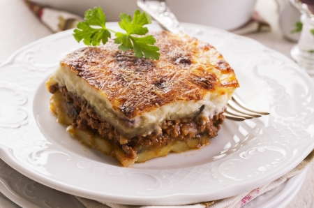 balkan: moussaka on a plate Stock Photo