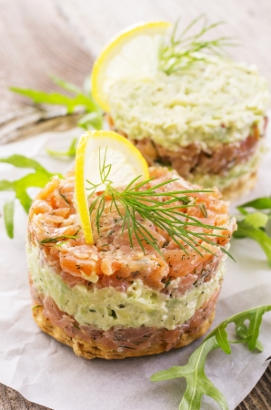 hacked: tatar with salmon and avocado Stock Photo
