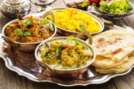 indian curries with rice and bread  photo