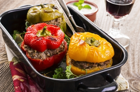peppers stuffed with ground meat photo
