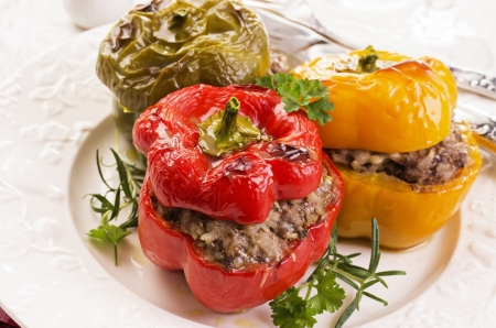 bell peppers filled with minced meat photo