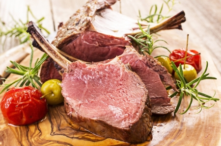 lamb chop: venison carree Stock Photo