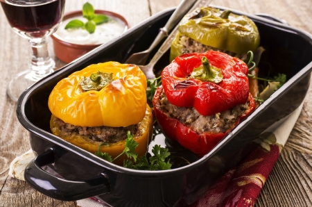 stew: peppers stuffed with minced meat