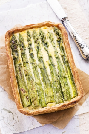 antipasto: tarte with asparagus Stock Photo