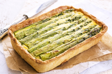 self starter: pastry with asparagus  Stock Photo