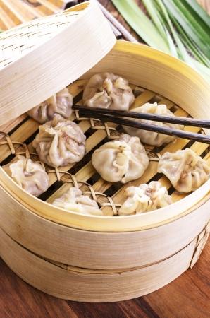 dim sum: dumplings in bambus steamer