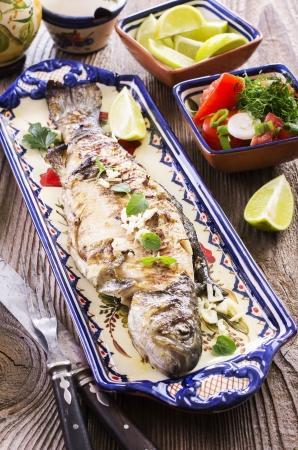 salmo trutta: grilled fish Stock Photo