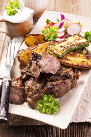 greek food: grilled lamb with vegetables Stock Photo
