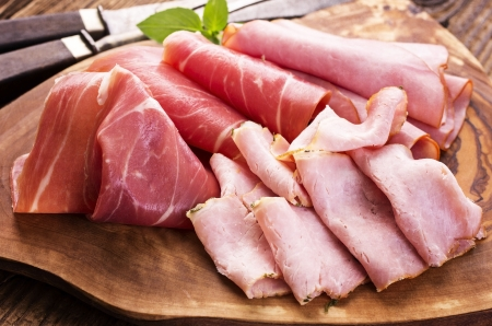 cold cuts: cold meat plate Stock Photo