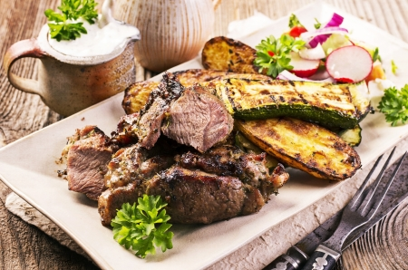 grilled lamb with vegetables Stock Photo