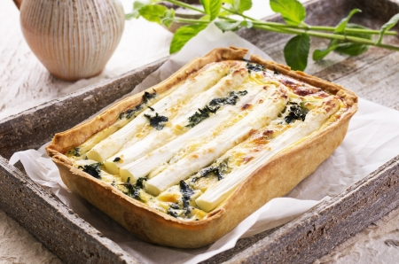 quiche with asparagus  photo