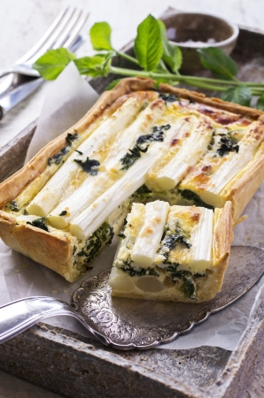 tarte with asparagus and spinach  photo