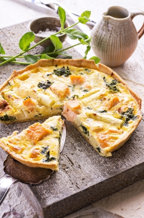 antipasto: quiche with asparagus and salmon