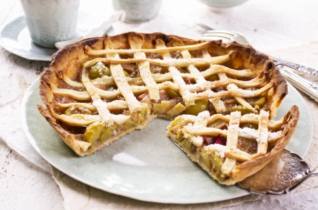 self starter: rhubarb pastry Stock Photo