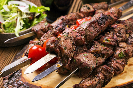 grill food: lamb kebab