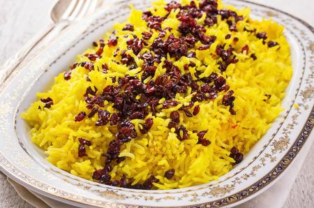 barberries: sereshk polo - persian saffron rice with berberis