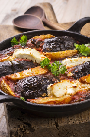 baked eggplant and potato greek style photo