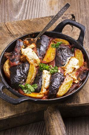 brinjal: baked vegetales with feta