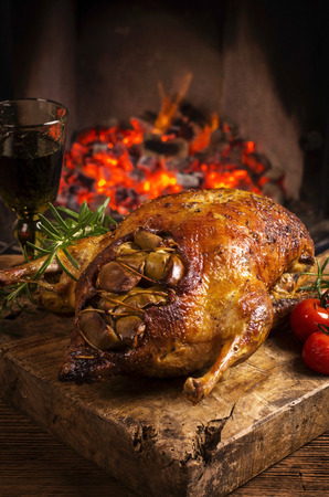 duck roasted with apples photo