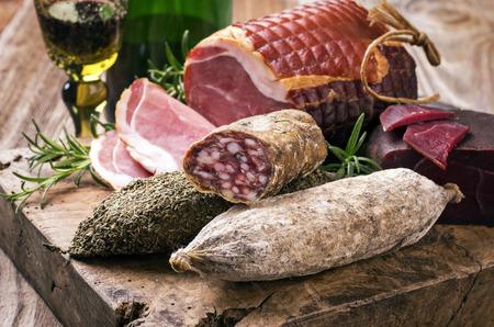air dried salami: salami and ham