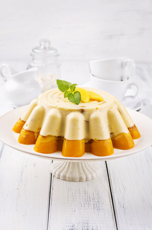 nostalgy: mango and vanilla pudding Stock Photo