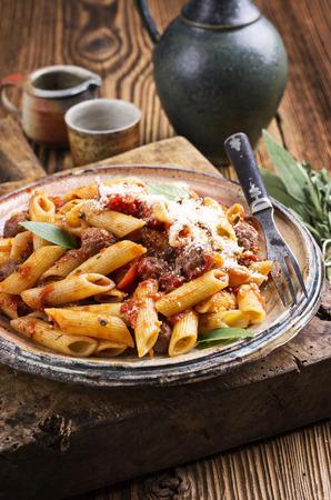 italian pasta - pasta con salsiccia Stock fotó