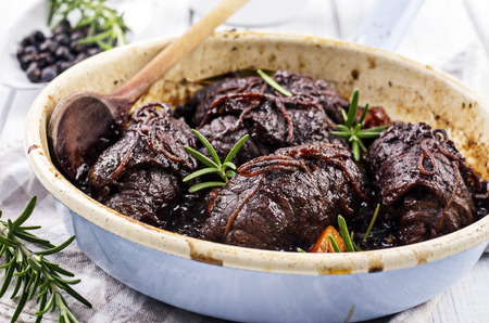 red braised: beef roulades Stock Photo