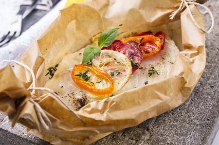 filete de pescado: filete de pescado al horno con verduras