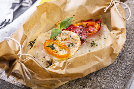 fish fillet baked with vegetable photo