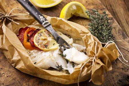 fish dish: fish oven baked Stock Photo