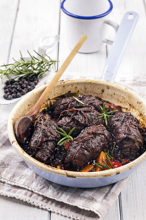 stew pan: beef roulades Stock Photo