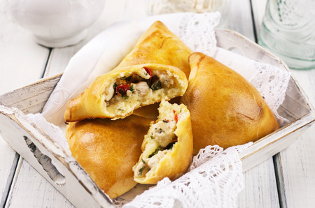 baked samosa with chicken Stock Photo