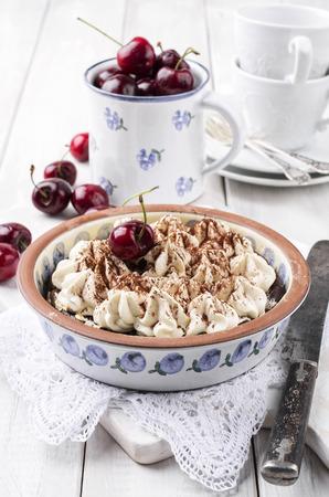self made: cherry pie with meringues Stock Photo