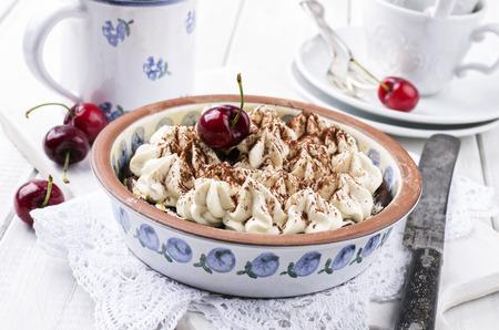 nostalgy: cherry pie with meringues Stock Photo
