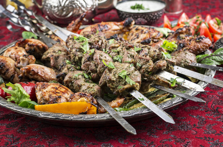grilled lamb kebab and chicken photo