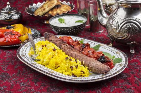 kebab koubideh with sereshk polo