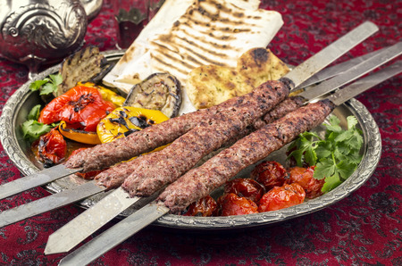 kabab koobideh with grilled vegetables Stock Photo