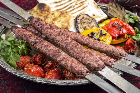 kabab: kabab koubideh with grilled vegetables
