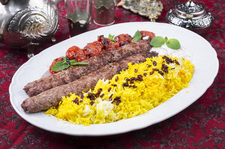 kebab kubideh with saffron rice